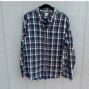L L Bean flannel Shirt Plaid Slightly Fitted